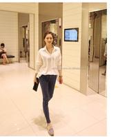 women 2015 new design cotton long sleeve blouse office uniforms for ladies tops guangzhou manufacture wholesale