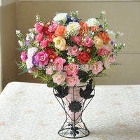 ( 15 flower head per piece)5Colors Floral Crafts Artificial Flowers Roses Home Rome Decor free&drop shipping(5pcs/lot)