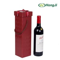 Black and Red Cardboard Good Quality Handled Wine Gift Box
