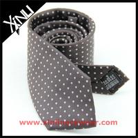 Brown White Polka Dots Silk Cotton Mixed Yarn Factory Sale Necktie