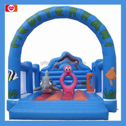 Blue coral themed printing inflatable boucer ,junmping castle ,inflatable bouncy for kids