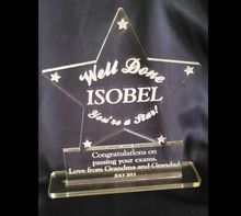 Well Done' PERSONALISED Acrylic Star AWARD Exams, Graduation, Job etc NEW