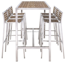 OP-T10 Outdoor stainless steel bar table with teak top