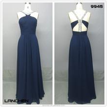 9945 Navy Blue Backless Beaded Thin Strap Mermaid Prom Dresses