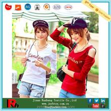 Wholesale crew neck cotton women embroidered tshirt