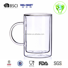 Wholesale 3.3 Borosilicate BPA Free Double Wall Drinking Glass Tumbler With Handle For Tea For Beer