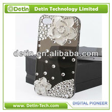 Fashion bling camellia flower design jewel phone cases for iphone 4 4s