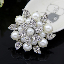 wholsale fashion silver pearl pins for dresses hijab pins brooches for wedding cards