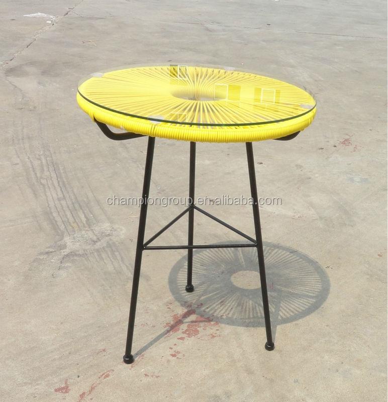 Acapulco petite table d 39 appoint avec plateau en verre for Petite table d appoint exterieur