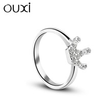 OUXI Crown silver rings, gold plated silver wedding rings Y70050