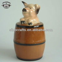 cute design pig in the wooded cask ceramic money bank
