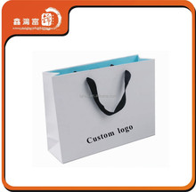 apparel packaging paper bag with ribbon