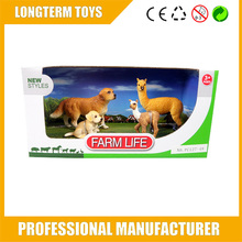 2015 plastic high simulation alpaca and dogs plastic farm animals figurines toys