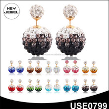 2015 new design fashion crystal earring double ball