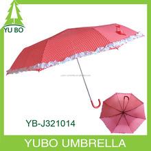South Korean style hook handle 3 fold princess umbrella with white flower edge