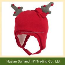 W-1093 new style red lovely kids animal crochet elk beanie children knitted elk hat