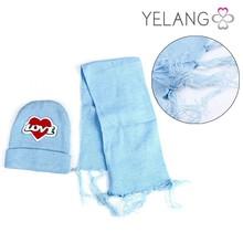 Cute cartoon animal pattern hat and scarf set