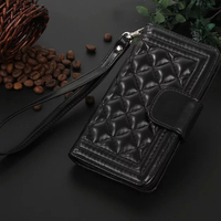 For Galaxy S6 Hand Bags Women's Grid Cell Phone Bag Case For Samsung S6 With Wrist Band