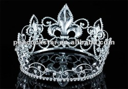 "Wholesale Men's Pageant Tall 4"" Tiara Full Circle Round Imperial Medieval Fleur De Lis King Crown CT1692"