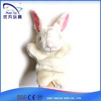For promotion kids 26cm stuffed rabbit soft animal 2015 popular nice beautiful baby toy hand puppet