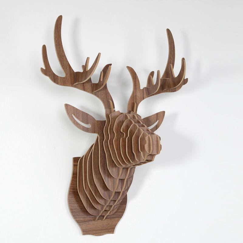 North european style dear head wall mount home decor buy - Tete de cerf en bois ...