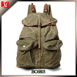 Men fashion travel backpack vintage canvas and leather backpack china export backpack