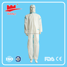 white/blue disposable nonwoven chemical hooded microporous heat seal coverall