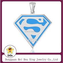 High Polishing Fashion Stainless Steel White And Blue Enamel Superman Energy Pendant Letter S Pendant Design For Mens