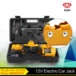 12V electric car jack with wrench pack in case