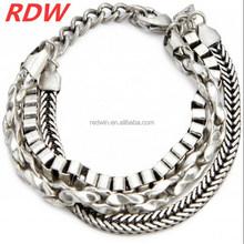 RDW 2015 Biker man Cable chain stainless steel bracelet ,Italian heavy steel cuban chain bracelet for men jewelry