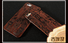 Wood Case for iPhone 6 Wooden 6Plus New Cover Natural Real Walnut Bamboo Carving Patterns Wood Slice Back Cover