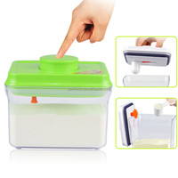 1L rectangle eco friendly easy open and lock green with pendant lid plastic baby milk powder can