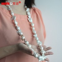 100cm long 18mm Large Baroque Nuclear Natural Pearl Necklace for women