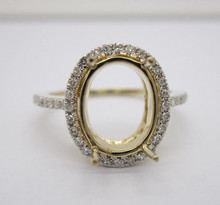 Oval cut 8x10mm Center 14K 585 Solid Yellow Gold 0.38ct Diamond Semi-Mount Ring