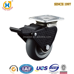 Heavy duty top plate caster wheel with Plastic Total Brake, hardware