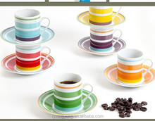high Quality Handpainted Stoneware Cup And Saucer Color Stripe Handpainted
