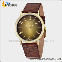 Super slim stainless steel couple lover wrist watch with genuine leather watch bands