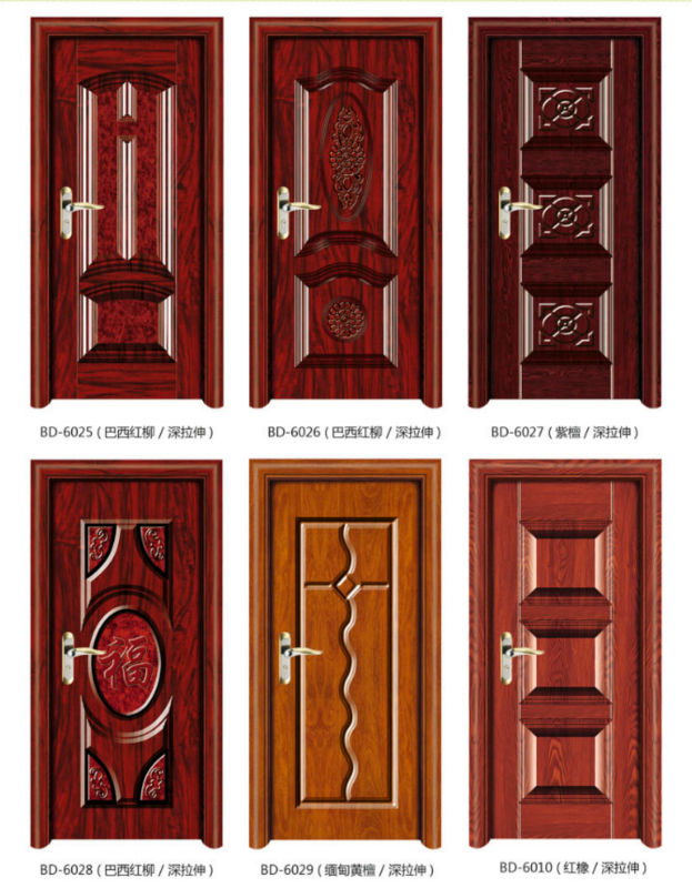 Modern solid steel wood panel interior single door design for Single main door designs for home