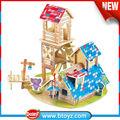 Últimos productos niños juguetes de madera casas de madera bungalow con elefante