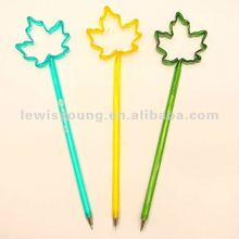 Colorful maple leaf shaped plastic ball pen
