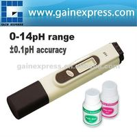 High Accuracy Handheld Digital Pen Type pH Meter Tester 2 Buffer Hydroponic Aquarium Pool 0.00 - 14.00 pH Range + Built-in ATC