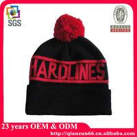 Jacquard Hardlines Red Pom Pom Knitted Beanie Hat