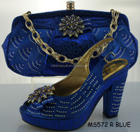 MS572 rolay blue lovely Italian shoe matching bag light fashion design for lady party