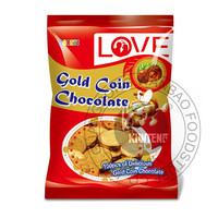 bag packing gold coin chocolate