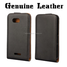 Up and down genuine black leather mobile cell phone case flip cover for sony xperia e4g