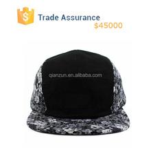 Custom 5panel Hat , Black Leather 5 Panel Hat ,Black Floral 5 Panel Camp Cap Hat