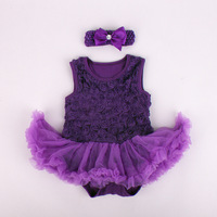 wholesale infant red white pink rose tutu dress with hairband rosette-trimmed romper dress for summer