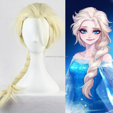 Synthetic Blonde Wig Cosplay frozen elsa wig Braid Long Straight Classic Cap QPWG-2200