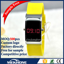 Watch Led Yellow Sports Watch Thin Digital Watch , Stainless steel case back waterproof digital