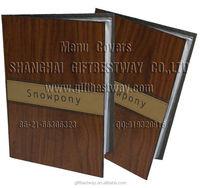 Restaurant menu covers wood